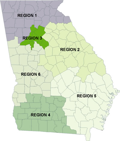 Field Offices Department Of Behavioral Health And Developmental - Georgia map with regions