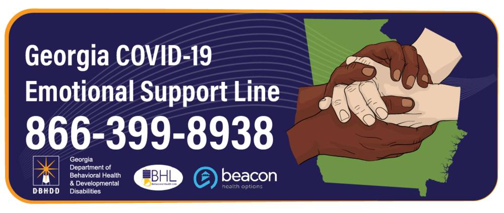 Georgia COVID-19 Emotional Support Line call 866-399-8938