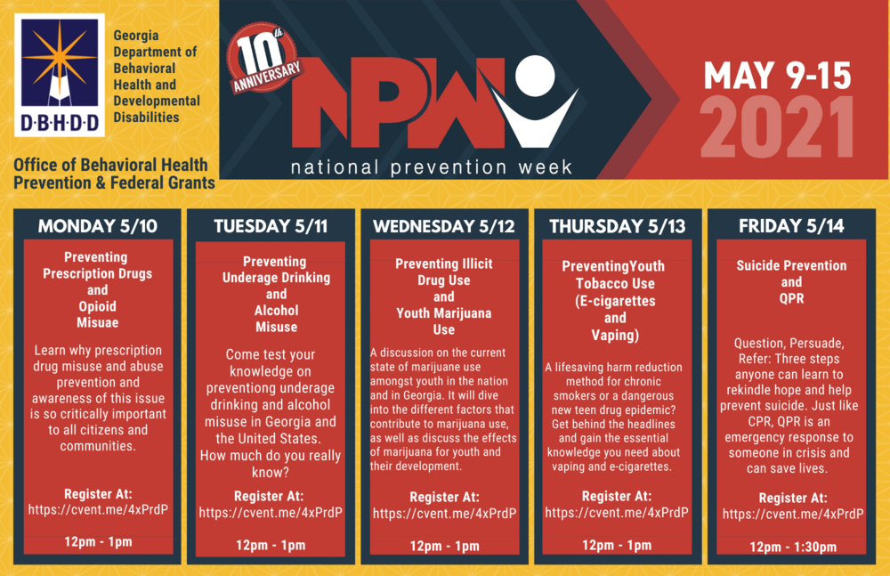 National Prevention Week 2021 Schedule