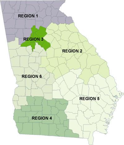DBHDD Regions Map