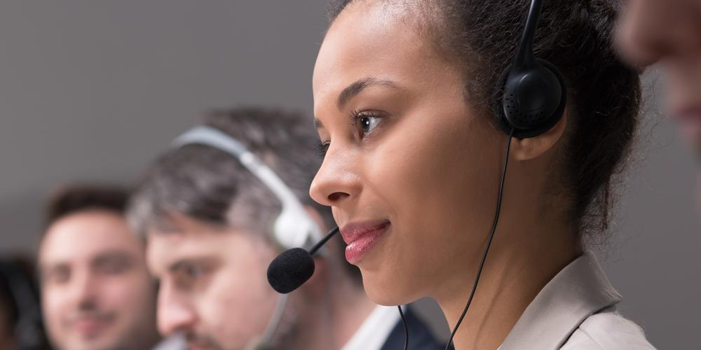 Call center worker listening
